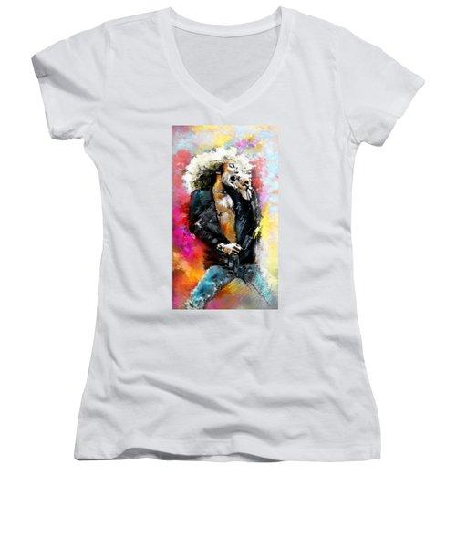 Robert Plant 03 Women's V-Neck T-Shirt (Junior Cut) by Miki De Goodaboom
