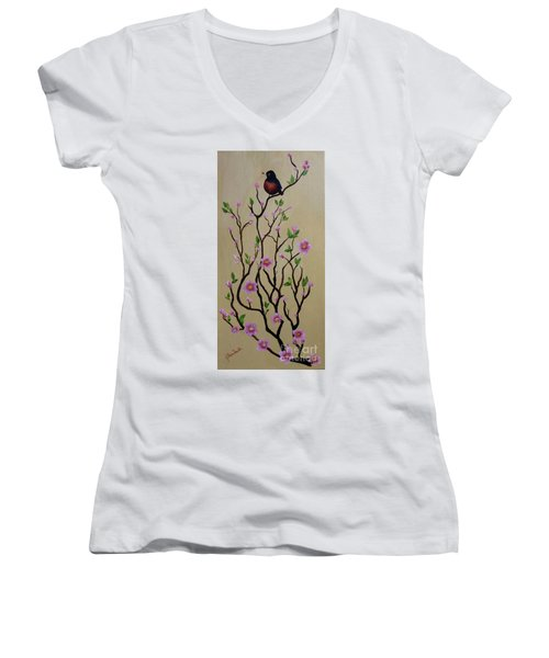 Robin And Spring Blossoms Women's V-Neck