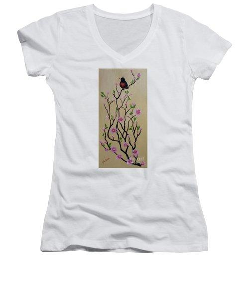 Robin And Spring Blossoms Women's V-Neck