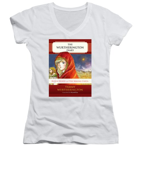 Robin Hood Cover Women's V-Neck T-Shirt (Junior Cut) by Reynold Jay