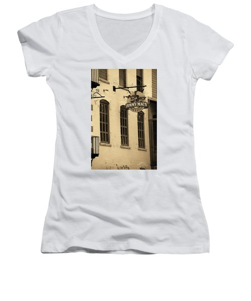 Women's V-Neck T-Shirt (Junior Cut) featuring the photograph Rochester, New York - Jimmy Mac's Bar 3 Sepia by Frank Romeo