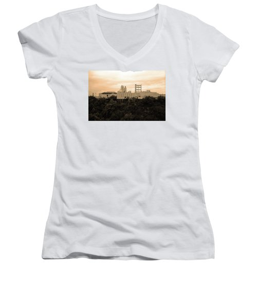 Women's V-Neck T-Shirt (Junior Cut) featuring the photograph Rochester, Ny - Factory On A Hill Sepia by Frank Romeo