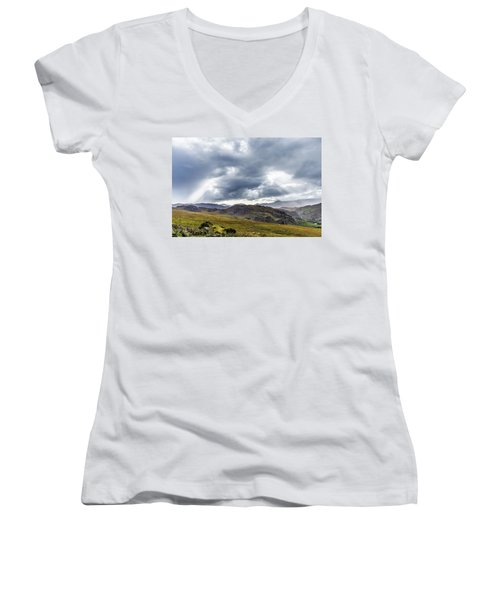 Women's V-Neck T-Shirt (Junior Cut) featuring the photograph Rock Formation Landscape With Clouds And Sun Rays In Ireland by Semmick Photo