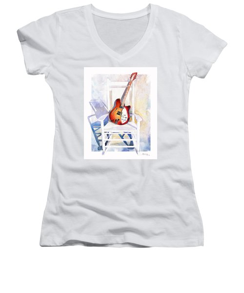 Women's V-Neck featuring the painting Rock On by Andrew King