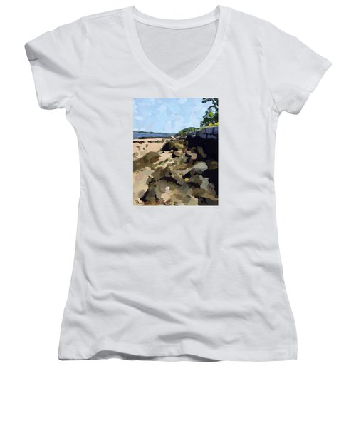 Rock Wall Looking South On Ten Pound Island, Gloucester, Ma Women's V-Neck T-Shirt