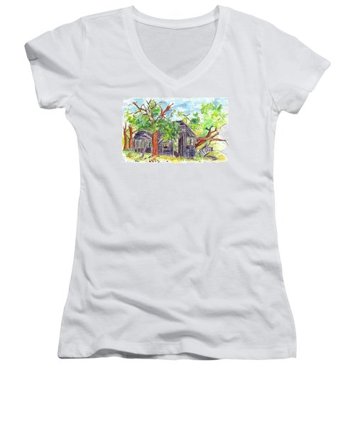 Women's V-Neck T-Shirt (Junior Cut) featuring the painting Rockland Cabin by Cathie Richardson