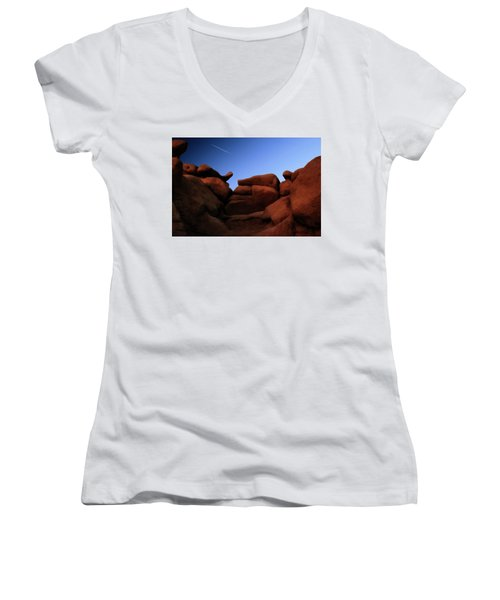 Rocks And Sky At Goblin Valley  Utah Women's V-Neck (Athletic Fit)