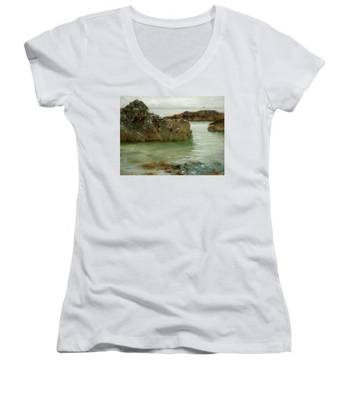 Women's V-Neck T-Shirt (Junior Cut) featuring the painting Rocks At Newport by Henry Scott Tuke