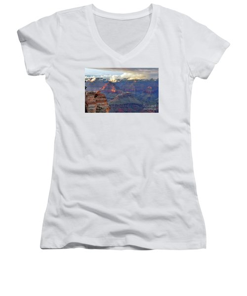 Rocks Fall Into Place Women's V-Neck T-Shirt (Junior Cut) by Debby Pueschel