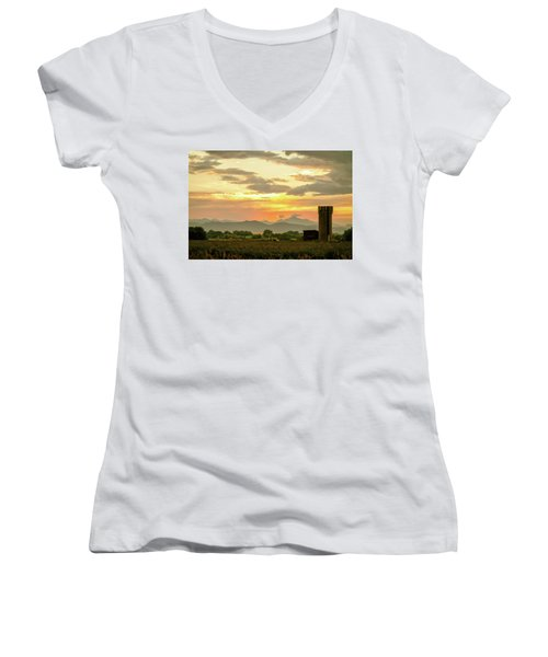 Women's V-Neck T-Shirt featuring the photograph Rocky Mountain Front Range Country Landscape by James BO Insogna