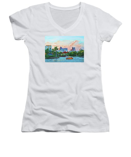 Rolling Down The New River Women's V-Neck (Athletic Fit)