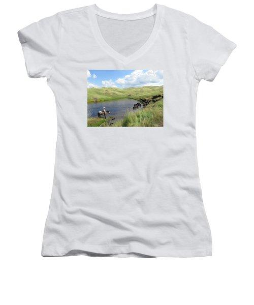 Rolling Hills Women's V-Neck T-Shirt (Junior Cut) by Diane Bohna