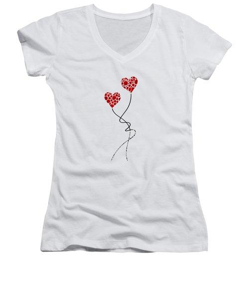 Romantic Art - You Are The One - Sharon Cummings Women's V-Neck T-Shirt (Junior Cut) by Sharon Cummings