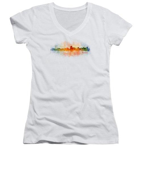 Rome City Skyline Hq V03 Women's V-Neck T-Shirt (Junior Cut) by HQ Photo