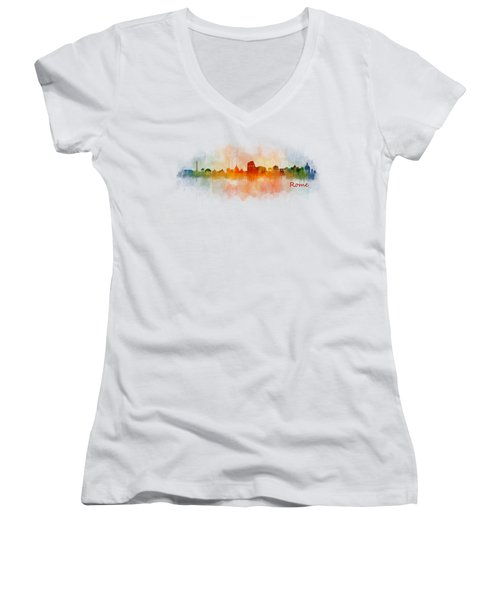Rome City Skyline Hq V03 Women's V-Neck (Athletic Fit)