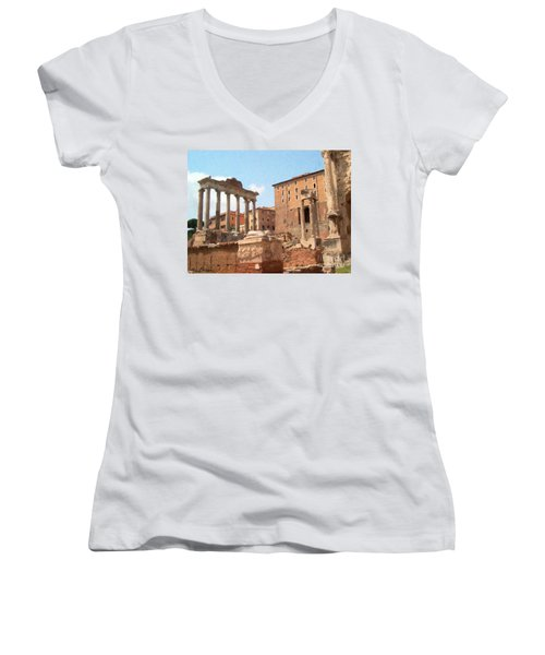 Rome The Eternal City And Temples Women's V-Neck