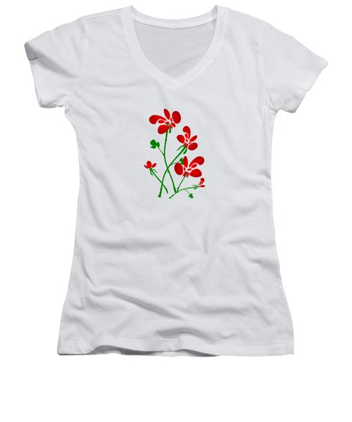Rooster Flowers Women's V-Neck T-Shirt (Junior Cut) by Anastasiya Malakhova