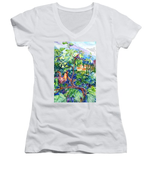 Rooster In A Fig Tree, Tuscany   Women's V-Neck (Athletic Fit)