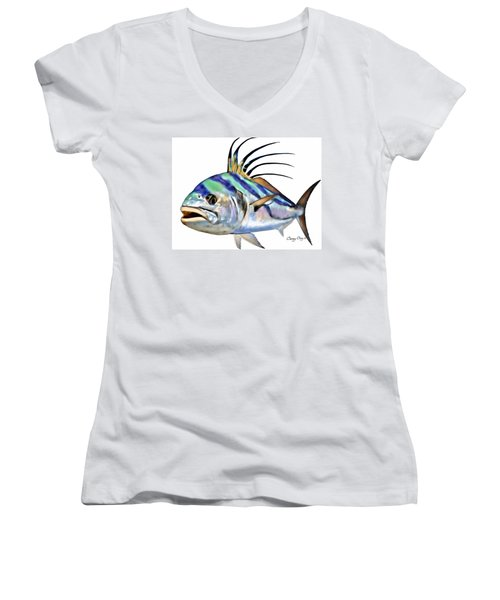 Roosterfish Digital Women's V-Neck T-Shirt (Junior Cut) by Carey Chen