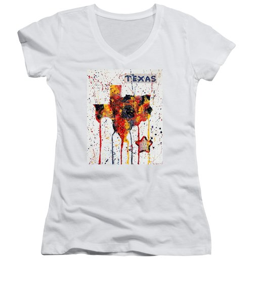 Women's V-Neck T-Shirt (Junior Cut) featuring the painting Rooted In Texas by Tamyra Crossley
