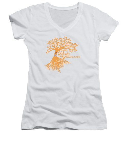 Roots In Tn Orange Women's V-Neck (Athletic Fit)