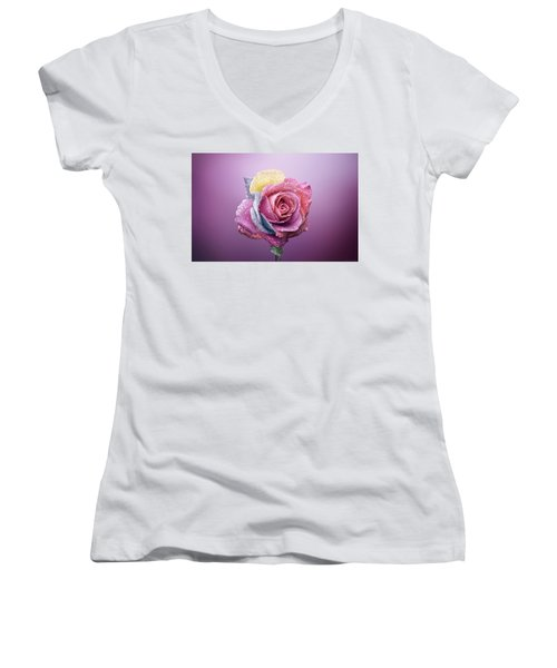 Rose Colorfull Women's V-Neck (Athletic Fit)