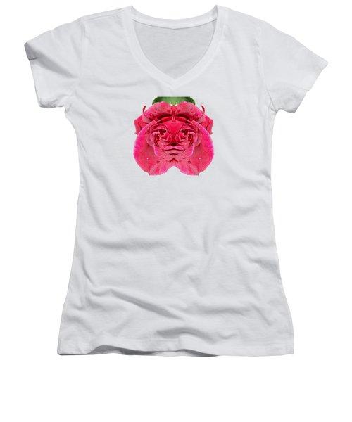 Rose Face Women's V-Neck T-Shirt