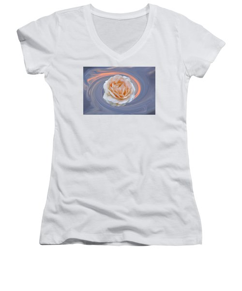 Rose In Swirl Women's V-Neck T-Shirt (Junior Cut) by Helen Haw