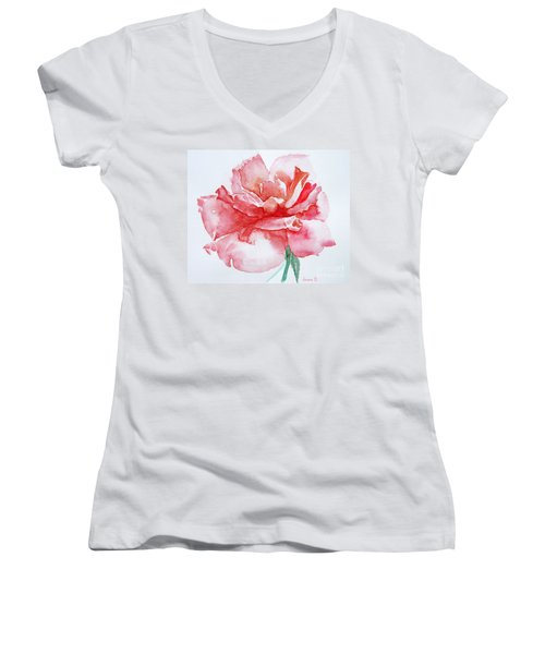 Rose Pink Women's V-Neck T-Shirt (Junior Cut) by Jasna Dragun