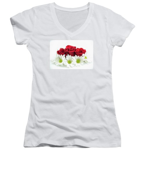 Roses And Daisies Women's V-Neck (Athletic Fit)