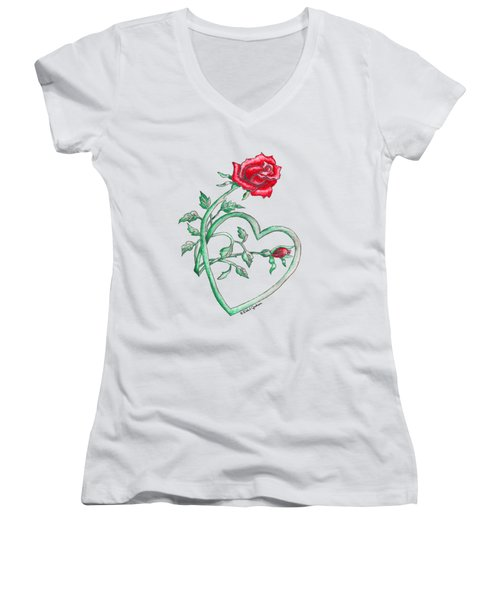 Roses Hearts Lace Flowers Transparency       Women's V-Neck (Athletic Fit)