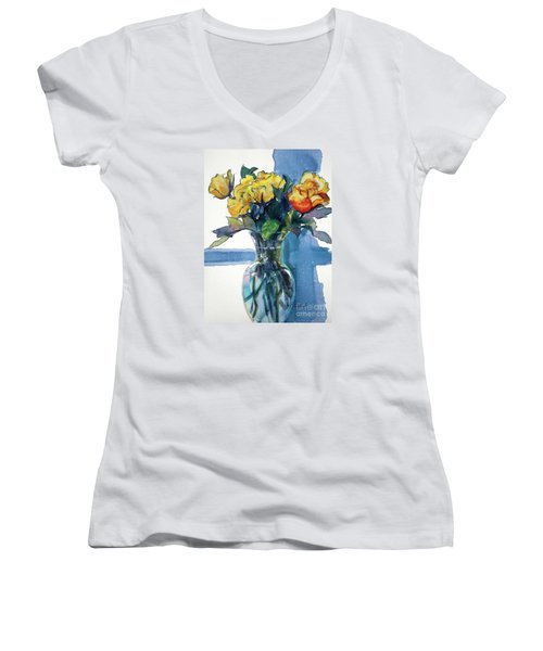 Roses In Vase Still Life I Women's V-Neck (Athletic Fit)
