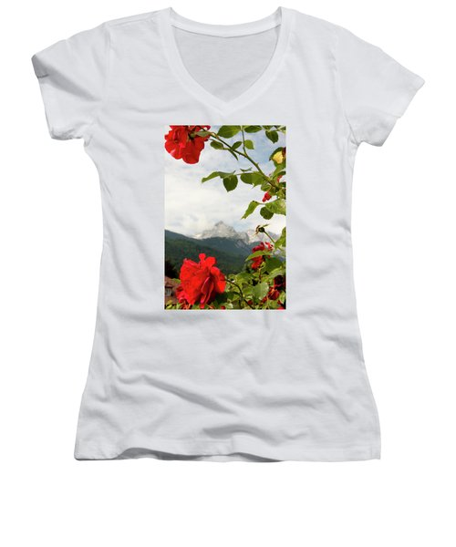 Women's V-Neck T-Shirt (Junior Cut) featuring the photograph Roses Of The Zugspitze by KG Thienemann