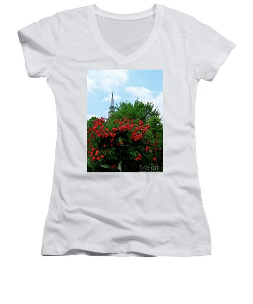 Roses On The Fence In Mauricetown Women's V-Neck T-Shirt (Junior Cut) by Nancy Patterson