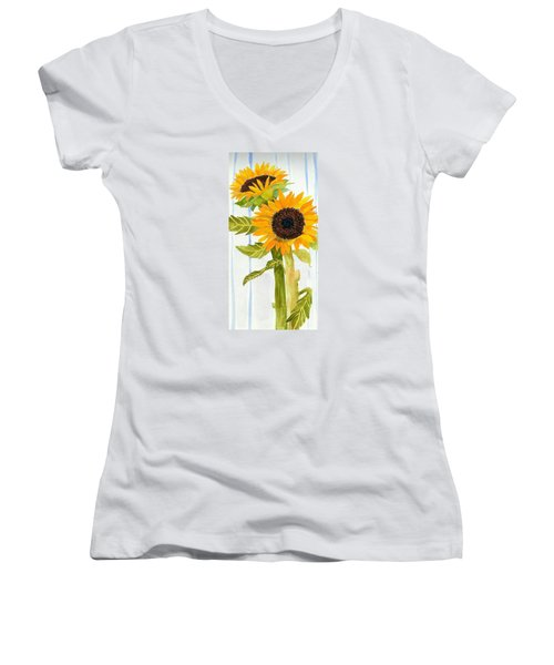 Rosezella's Sunflowers II Women's V-Neck T-Shirt (Junior Cut) by Anne Marie Brown