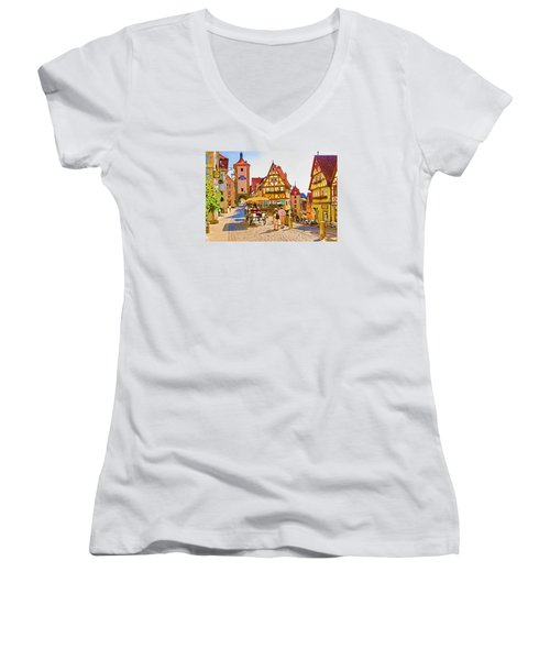 Rothenburg Little Square Women's V-Neck T-Shirt (Junior Cut) by Dennis Cox WorldViews