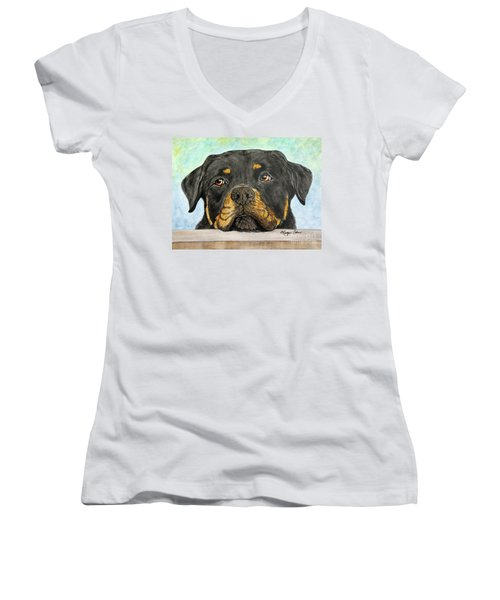 Rottweiler's Sweet Face 2 Women's V-Neck T-Shirt (Junior Cut) by Megan Cohen