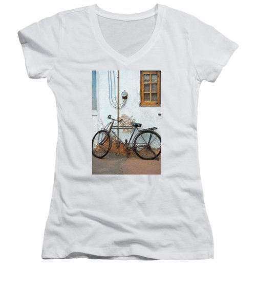 Rough Bike Women's V-Neck T-Shirt (Junior Cut) by Robert Meanor