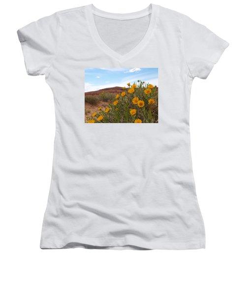 Women's V-Neck T-Shirt (Junior Cut) featuring the photograph Rough Mulesear Flowers by Jenessa Rahn