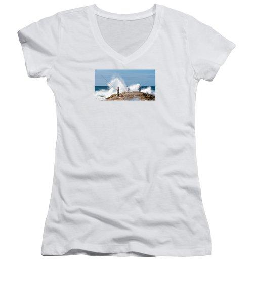 Rough Sea Fishing Women's V-Neck T-Shirt