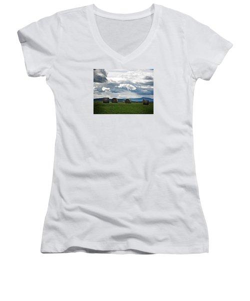 Round Bales Under A Cloudy Sky Women's V-Neck T-Shirt (Junior Cut) by Joy Nichols