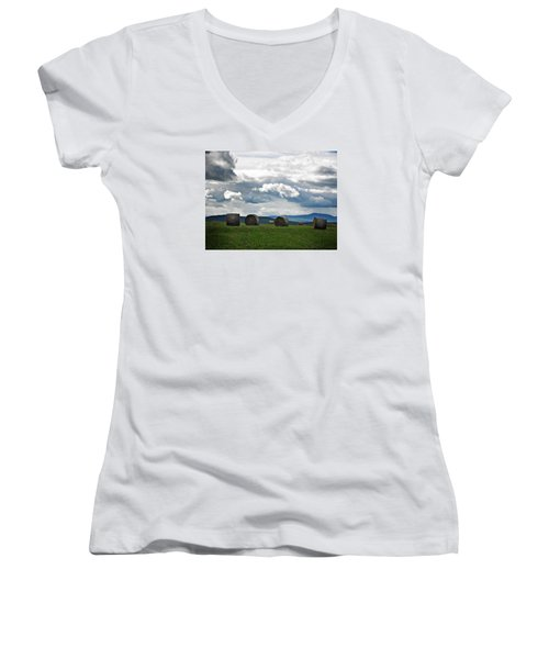 Round Bales Under A Cloudy Sky Women's V-Neck T-Shirt