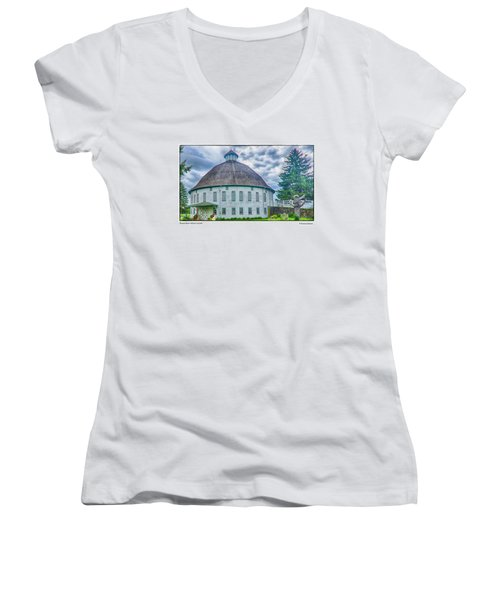 Women's V-Neck T-Shirt (Junior Cut) featuring the photograph Round Barn, Adams County by R Thomas Berner