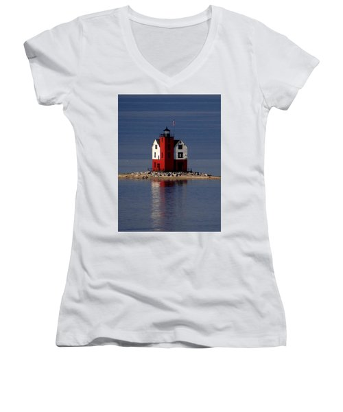 Round Island Lighthouse In The Morning Women's V-Neck T-Shirt (Junior Cut) by Keith Stokes