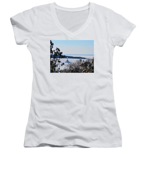 Round Island Passage Light Through The Trees Women's V-Neck (Athletic Fit)