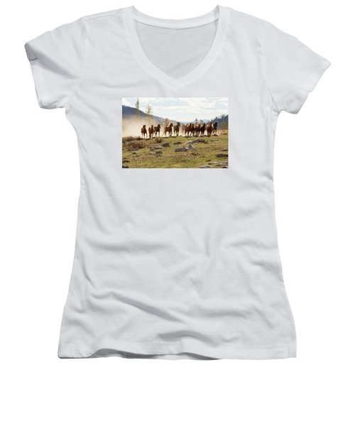 Round Up Women's V-Neck T-Shirt (Junior Cut) by Sharon Jones
