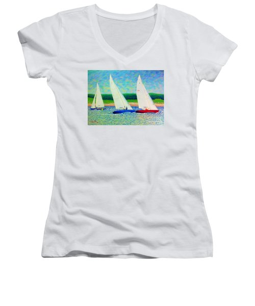 Rounding The Mark  Women's V-Neck T-Shirt (Junior Cut) by Rae  Smith