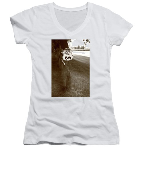 Women's V-Neck T-Shirt (Junior Cut) featuring the photograph Route 66 Shield And Fence Sepia Post by Frank Romeo