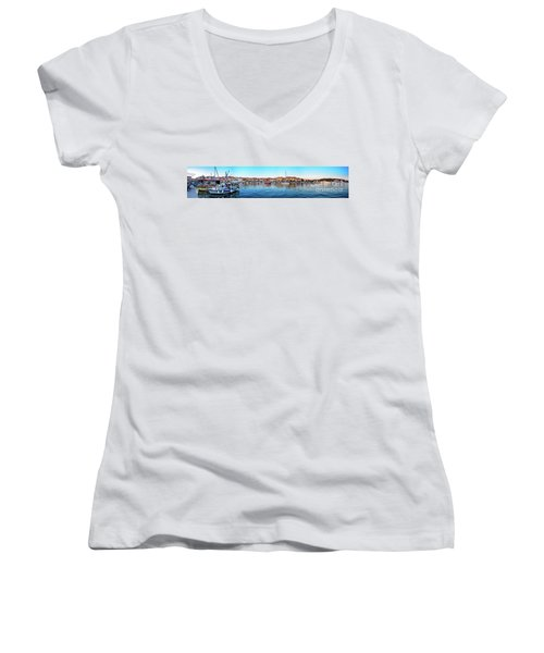 Rovinj Harbor And Boats Panorama Women's V-Neck