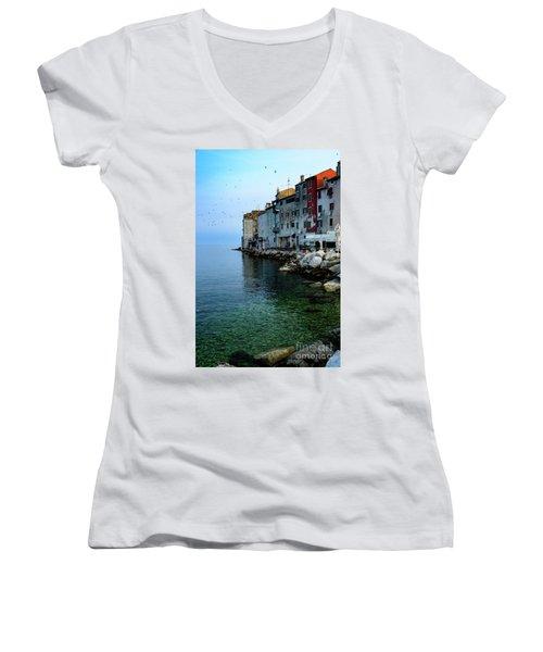 Rovinj Venetian Buildings And Adriatic Sea, Istria, Croatia Women's V-Neck